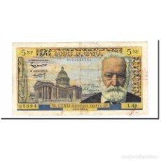 Billetes extranjeros: FRANCIA, 5 NOUVEAUX FRANCS, VICTOR HUGO, 1961, 1961-04-06, MBC, FAYETTE:56.7. Lote 194904971