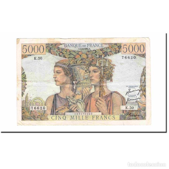 FRANCIA, 5000 FRANCS, TERRE ET MER, 1951, 1951-04-05, MBC, FAYETTE:48.04 (Numismática - Notafilia - Billetes Extranjeros)