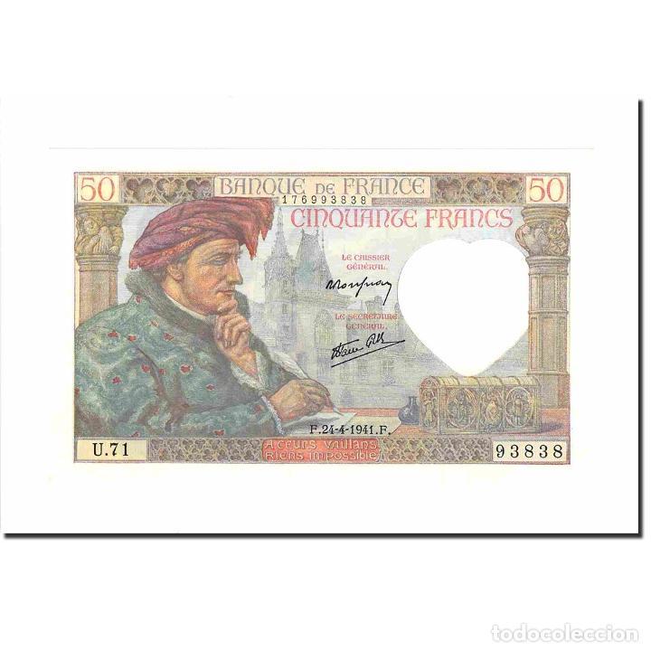 FRANCIA, 50 FRANCS, JACQUES COEUR, 1941, 1941-04-24, UNC, FAYETTE:19.9, KM:93 (Numismática - Notafilia - Billetes Extranjeros)