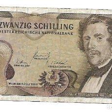 Billetes extranjeros: AUSTRIA 20 SCHILLING 1967 PICK 142A . Lote 194917643