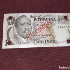 Billetes extranjeros: BOTSWANA. 1 PULA, 1976, SPECIMEN SC. Lote 194970141