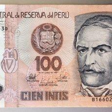 Billetes extranjeros: PERU. 100 INTIS. Lote 194979232