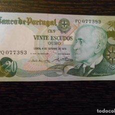 Billetes extranjeros: PORTUGAL-BILLETE 20 ESCUDOS-4-10-1978-PICK 176B-EBC+. Lote 194988927