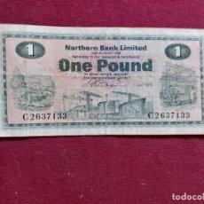 Billetes extranjeros: REINO UNIDO. ESCOCIA. SCOTLAND. NORTHERN BANK LIMITED. POUND 1960. Lote 194993143