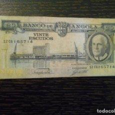 Billetes extranjeros: ANGOLA-BILLETE 20 ESCUDOS-10-6-1962-PICK 92-MBC-. Lote 194993435
