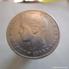 Billetes extranjeros: ALFONSO XIII . MUY BONITA PESETA DE PLATA . AÑO 1900. Lote 195005592