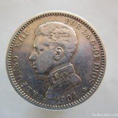 Billetes extranjeros: ALFONSO XIII . PRECIOSA MONEDA DE 1 PESETA DE PLATA . AÑO 1904 . ESTRELLAS PERFECTAS. Lote 195008698
