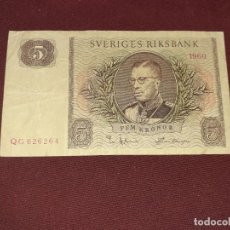 Billets internationaux: SUECIA 5 KORONAS 1960. Lote 195039242