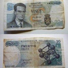 Billetes extranjeros: BILLETE DE BÉLGICA 20 FRANCOS 1964 CIRCULADO. Lote 195042270