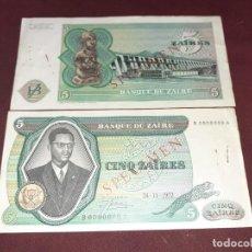 Billetes extranjeros: ZAIRE. PAREJA DE SPECIMEN UNIFAZ. 5 ZAIRES DE 1972. RARÍSIMOS. Lote 195042286