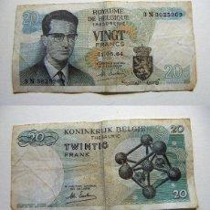 Billetes extranjeros: BILLETE DE BÉLGICA 20 FRANCOS 1964 CIRCULADO. Lote 195042297