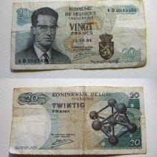 Billetes extranjeros: BILLETE DE BÉLGICA 20 FRANCOS 1964 CIRCULADO. Lote 195042317