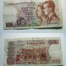 Billetes extranjeros: BILLETE DE BÉLGICA 50 FRANCOS 1966 CIRCULADO. Lote 195042687
