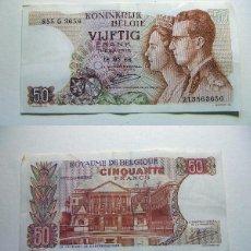 Billetes extranjeros: BILLETE DE BÉLGICA 50 FRANCOS 1966 CIRCULADO. Lote 195042896