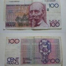 Billetes extranjeros: BILLETE DE BELGICA 100 FRANCOS CIRCULADO. Lote 195043662