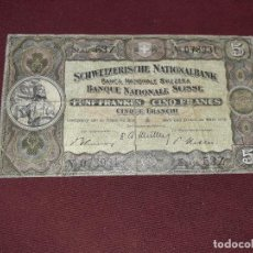 Billetes extranjeros: SUIZA. 5 FRANKEN (FRANCOS) 28.3.1952. Lote 195047502