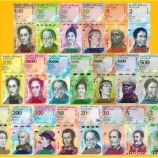 Billetes extranjeros: COLECCION VENEZUELA FULL SET 21 PCS BOLIVARES Y SOBERANO 2007 - 2018 UNC. Lote 195054021
