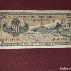 Billetes extranjeros: INDOCHINA FRANCESA. 20 PIASTRES (1942-45). Lote 195060317