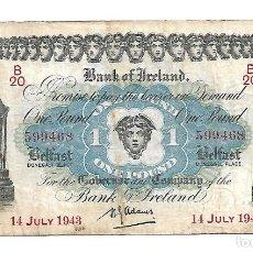 Billetes extranjeros: IRLANDA DEL NORTE. BANK OF IRELAND 1 POUND 1943 PICK 55B. RARO. Lote 195076846