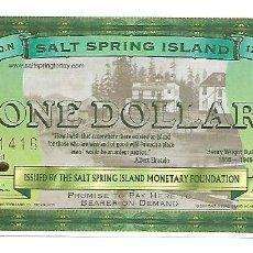 Billetes extranjeros: SALT SPRING ISLAND 1 DOLLAR 2001 BILLETE FANTASIA SIN CIRCULAR. Lote 195079431