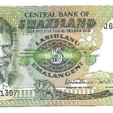 Billetes extranjeros: SWAZILANDIA 5 EMALAMGENI 1984 PICK 9B. SIN CIRCULAR. Lote 195081616