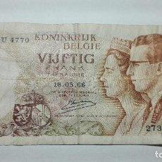 Billetes extranjeros: 57-BILLETE DE 50 FRANCOS DEL AÑO 1966 DE BELGICA, USADO PERO BUEN ESTADO. Lote 195118500