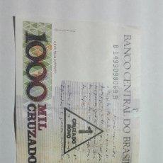 Billetes extranjeros: 80-BILLETE DE 1000 CRUZADOS DEL AÑO 1988 DE BRASIL. Lote 195141197