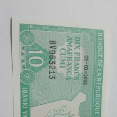 Billetes extranjeros: 92-BILLETE PLANCHA DE DIEZ FRANCOS DEL AÑO 2005 DE BURUNDI. Lote 195190096