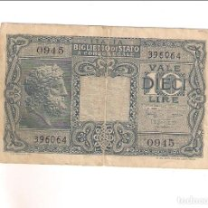 Billetes extranjeros: BILLETE DE 10 LIRA DE ITALIA DE 1944. MBC (BE80). Lote 195224957