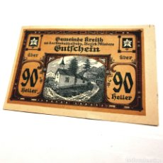 Billetes extranjeros: AUSTRIA, KREITH, 90 HELLER 1920. Lote 195239758