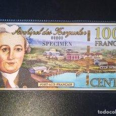 Billetes extranjeros: BILLETE SPECIMEN KERGUELEN SERIE 00000, 100 FRNACOS 2010 SIN CIRCULAR. Lote 195271255