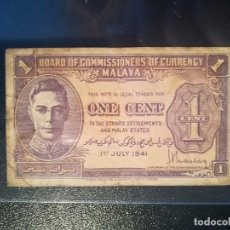 Billetes extranjeros: BILLETE ORIGINAL DE MALAYA 1 CENT 1941 JORGE VI CIRCULADO. Lote 195272418
