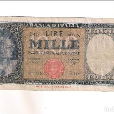 Billetes extranjeros: BILLETE DE 1.000 LIRA DE ITALIA DE 1961. BC- WORLD PAPER MONEY-88D (BE518). Lote 195280695