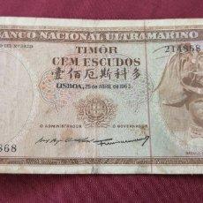 Billetes extranjeros: 100 ESCUDOS DE TIMOR 1963. Lote 195285515