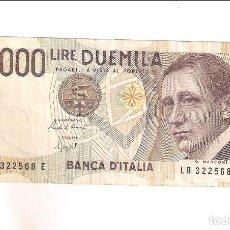 Billetes extranjeros: BILLETE DE 2.000 LIRA DE ITALIA DE 1990. BC. WORLD PAPER MONEY-115 (BE560). Lote 195288425