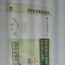 Billetes extranjeros: 257-BILLETE 5 KWACHA AÑO 2005 DE MALAWI, ESTADO PLANCHA. Lote 195331871