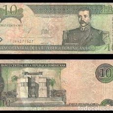 Billetes extranjeros: REPUBLICA DOMINICANA 10 PESOS ORO 1988 PIK 168C R/C. Lote 195336566