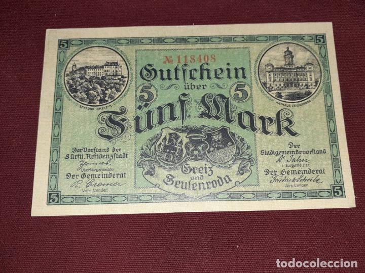 ALEMANIA. ZEULENRODA, 5 MARK SC 1918 (Numismática - Notafilia - Billetes Extranjeros)