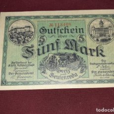 Billetes extranjeros: ALEMANIA. ZEULENRODA, 5 MARK SC 1918. Lote 195337018