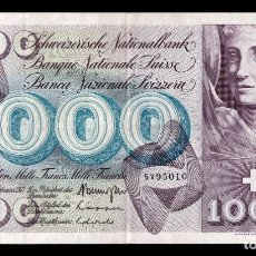 Billetes extranjeros: SUIZA SWITZERLAND 1000 FRANCS 1971 PICK 52J SIGN 42 MBC VF. Lote 195370803