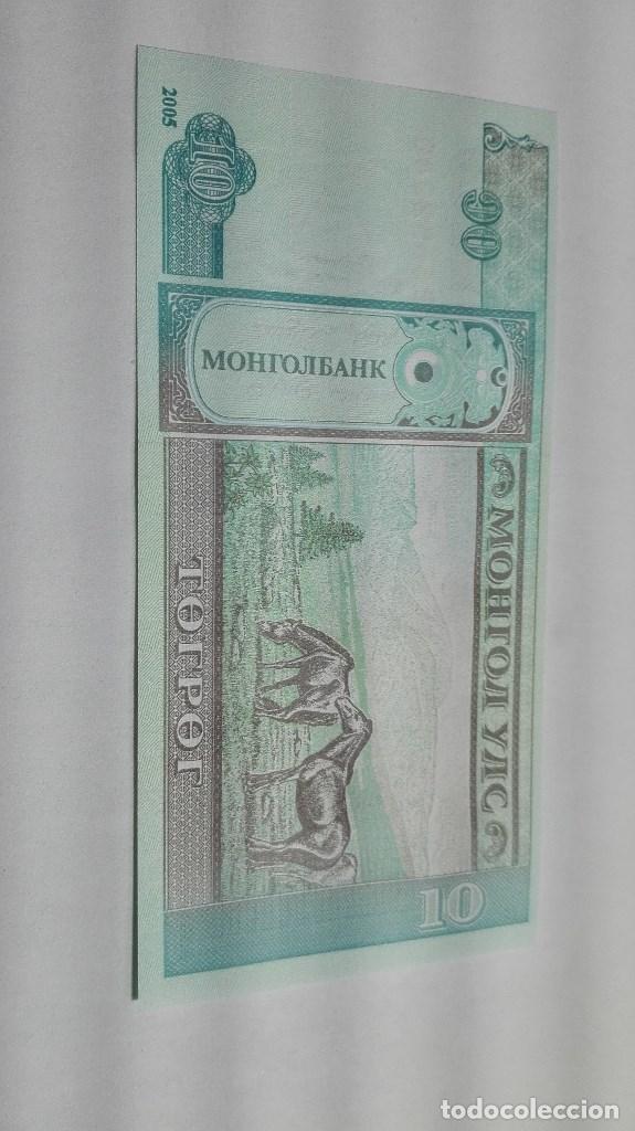 272-BILLETE 10 TUGRIK AÑO 2005 DE MONGOLIA, ESTADO PLANCHA (Numismática - Notafilia - Billetes Extranjeros)