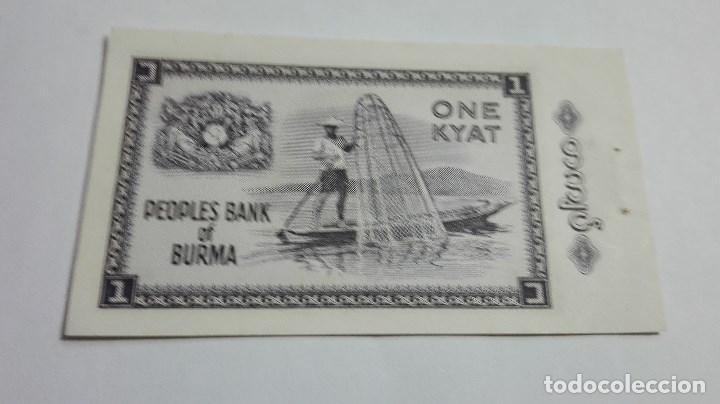 Billetes extranjeros: 279-BILLETE 1 KYAT AÑO 1965 DE MYANMAR, ESTADO MUY BUENO - Foto 2 - 195389673