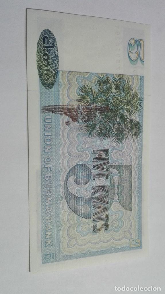 Billetes extranjeros: 280-BILLETE 5 KYAT AÑO 1973 DE MYANMAR, ESTADO PLANCHA - Foto 2 - 195390040