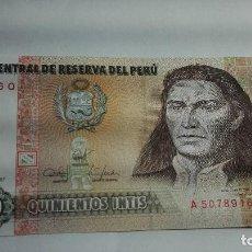 Billetes extranjeros: 314-BILLETE DE 500 INTIS AÑO 1987 DE PERU, ESTADO PLANCHA. Lote 195402322