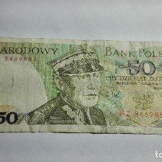 Billetes extranjeros: 318-BILLETE 50 ZTOTYCH AÑO 1988 DE POLONIA, ESTADO CIRCULADO. Lote 195406046