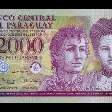 Billetes extranjeros: PARAGUAY 2000 GUARANÍES 2017 (2018) PICK 228D POLÍMERO SC UNC. Lote 195407661