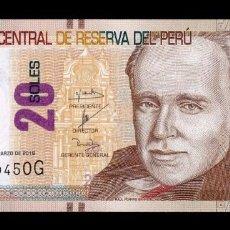 Billetes extranjeros: PERÚ 20 SOLES 2016 PICK 193 SC UNC. Lote 195414061