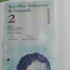Billetes extranjeros: 383-BILLETE 2 BOLIVARES DEL AÑO 2012 DE VENEZUELA, ESTADO PLANCHA . Lote 195436833