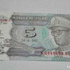 Billetes extranjeros: 404-BILLETE 5 MAKUTA AÑO 1993 DE ZAIRE, ESTADO PLANCHA. Lote 195451287