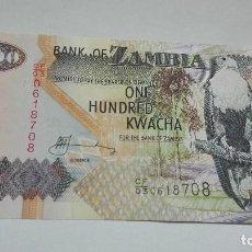 Billetes extranjeros: 406-BILLETE 100 KWACHA AÑO 2006 DE ZAMBIA, ESTADO PLANCHA. Lote 195451583